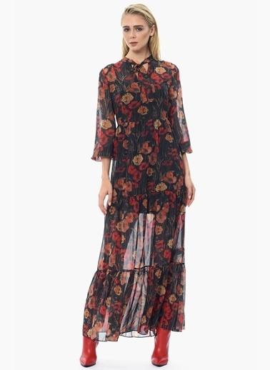 NetWork Çiçekli Uzun Şifon Elbise Siyah